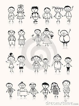 Glückliche große Familie, die zusammen, zeichnende Skizze lächelt