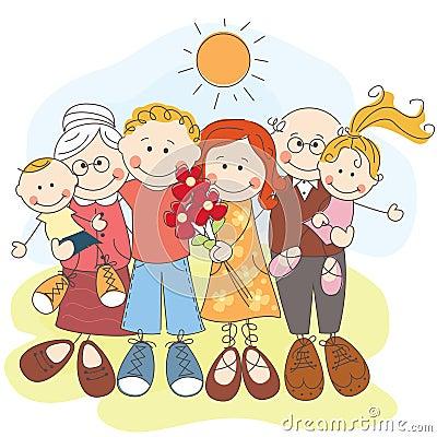 Glückliche große Familie zusammen