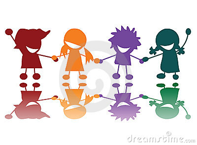 Glückliche Kinder in vielen Farben