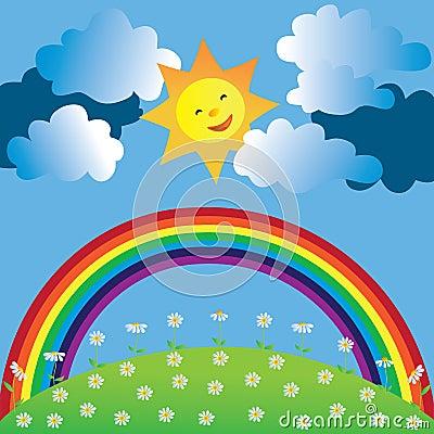 Glückliche Sonne und Regenbogen