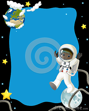 Glückliche und lustige Stimmung der Raumreise - - Illustration für die Kinder