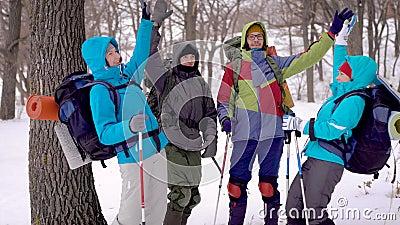Glückliche und motivierte Gruppe Wanderer, die ihre Hände mitten in einem Winterwald, Teamentwicklung zusammenfügen stock footage
