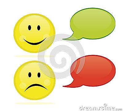 Glücklicher und trauriger Emoticon