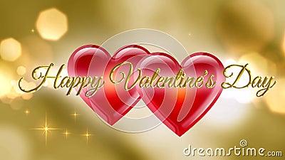 Glückwunsch Valentinstag Goldene Buchstaben auf goldenem Hintergrund lizenzfreie abbildung