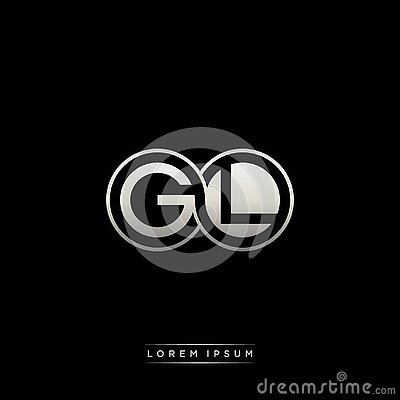 GL initial letter linked circle capital monogram logo modern template silver color version Vector Illustration
