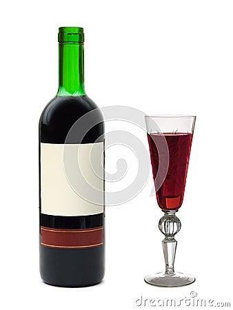 Glace et bouteille de vin avec l 39 tiquette vide photos - Achat de bouteille de vin vide ...