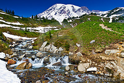 Glacier formed creek, Mount Rainier