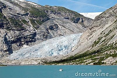 Glacier and glacial lake in Norway