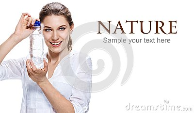 Glad european woman & bottle of clear water - isolated on white background