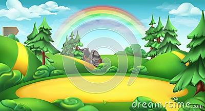 Glade in a forest. Nature landscape vector background Vector Illustration