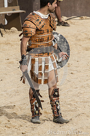 Gladiator fighting in the arena of Roman circus
