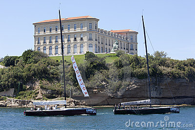 Gladiator and Ran teams leaving Marseille harbor Editorial Stock Photo