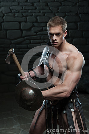 Free Gladiator With Shield And Axe Royalty Free Stock Photo - 42959285