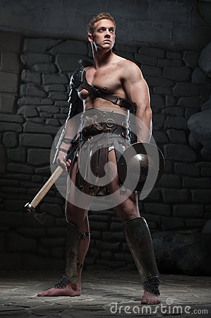 Free Gladiator With Shield And Axe Royalty Free Stock Photos - 42959298