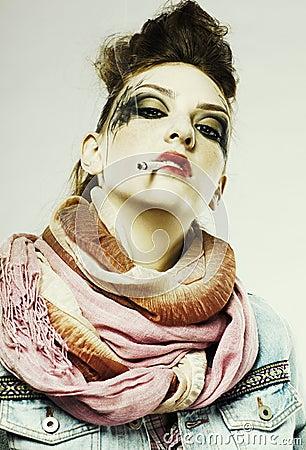 Glam punk girl smoking