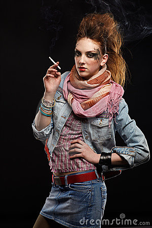Glam punk girl smoking