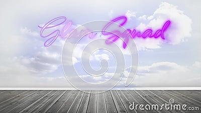 Glam squad, różowy neon, znak przeciwko chmurnemu niebu i drewnianej podłodze ilustracji