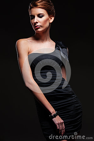 Glamor female in black dress