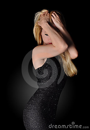 Glamor Woman on Black with Dress