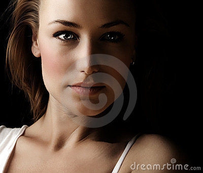 Glamor woman dark face portrait