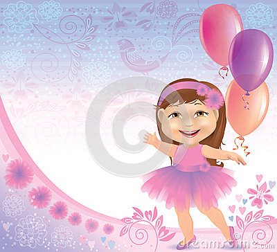 Glamorous birthday background with little girl