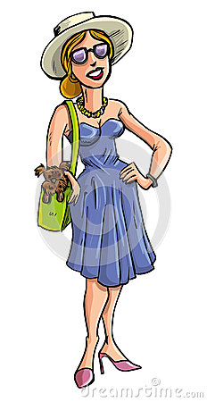 Glamorous lady carrying a dog in her bag