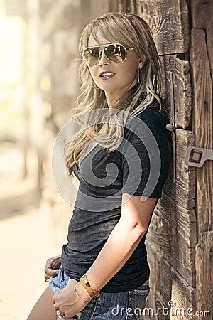 Glamorous blonde woman posing