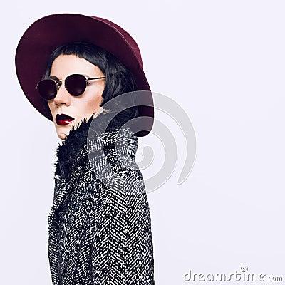 Free Glamorous Fashion Lady In A Stylish Coat And Hat. Vintage Style Stock Images - 48620264
