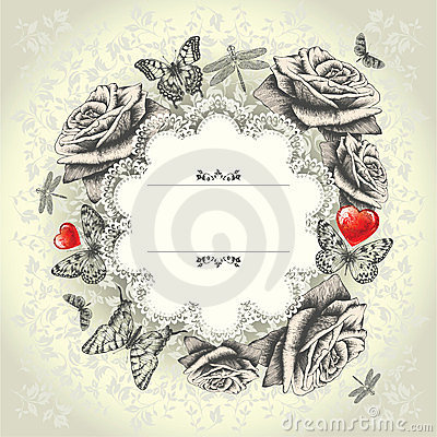 Free Glamorous Lace Frame With Blooming Roses, Flying B Stock Photo - 23621320