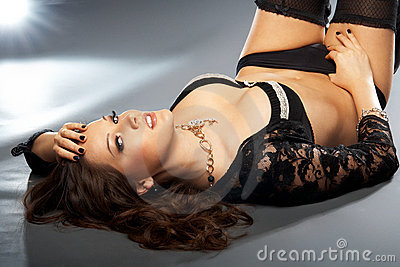Glamorous lady in lingerie