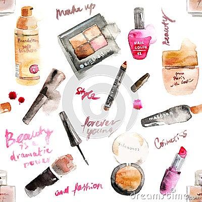 Free Glamorous Make Up Watercolor Cosmetics Stock Image - 54678681