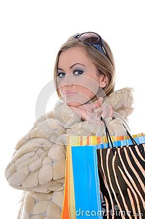 Glamorous shopping woman