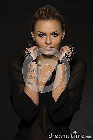 Free Glamorous Woman In Black Evening Wear Stock Photos - 28200533
