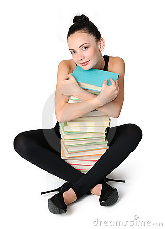 Glamorous young student girl with books
