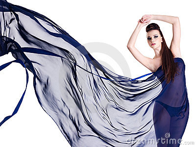 Glamour of beautiful woman in chiffon