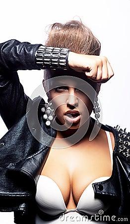 Glamour beautiful  woman in fashion black jacket