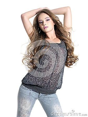 Glamour beautiful woman posing at studio