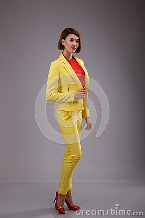 Free Glamour Fashion Style Catalog Casual Clothes For Business Woman Meeting Date Walk Party Sexy Beautiful Woman Brunette Shot Hair We Stock Photo - 99675680