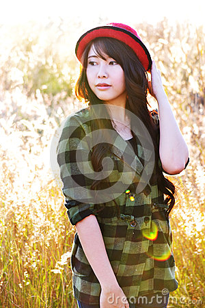 Glamour girl in meadow203