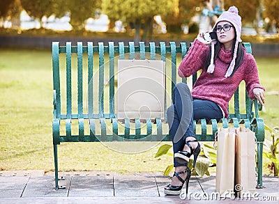 Glamour girl on the park