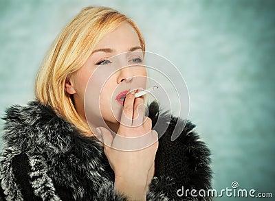 Smoking a huge cigar in a fur coat - 3 8