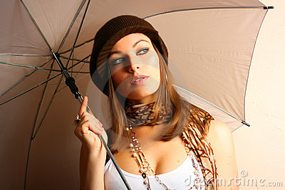 Glamour Girl With Umbrella