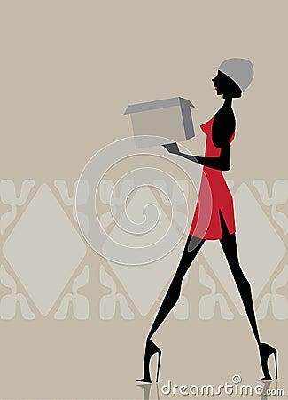 Glamour girl walking