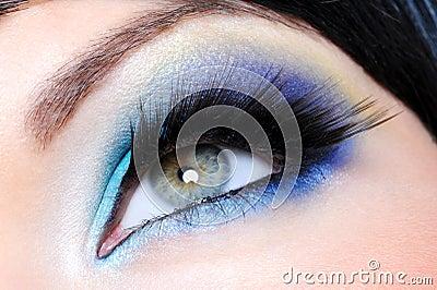 Glamour make-up with long false eyelashes