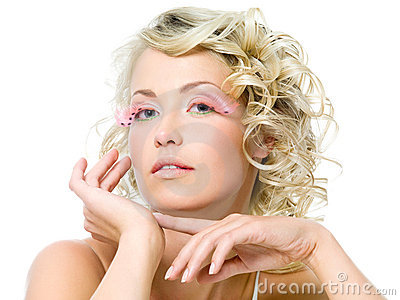 Glamour makeup on face of beautiful woman
