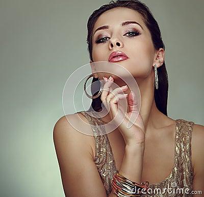 Glamour makeup woman posing. Art vogue