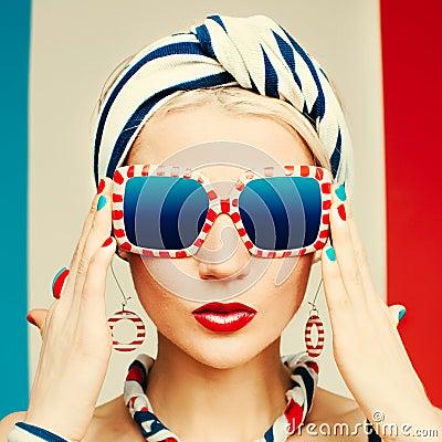 Free Glamour Model. Marine Style. Summer Fashion Stock Photo - 58940650
