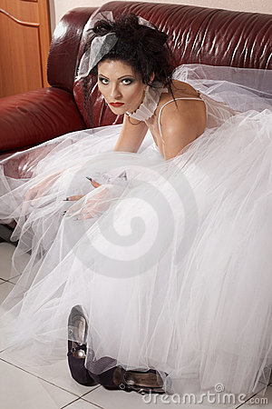 Glamour model on sofa