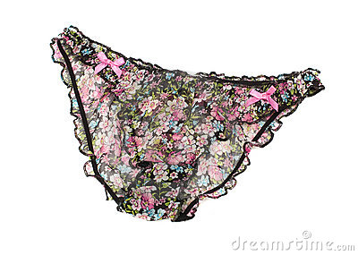 Glamour panties with floral pattern, isolated