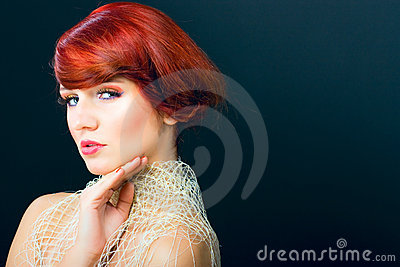 Glamour portrait beauty red hair woman hair saloon